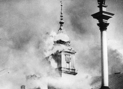 Sep. 17, 1939 - Warsaw Castle clock tower at fire