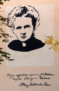 M. Curie graffiti on Institute of Oncology in Warsaw