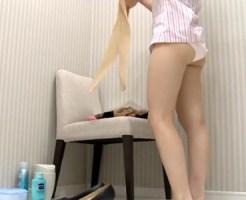 【着替え隠撮動画】ナイロンパンストが破れたのか…パンストを履き替えるOLを隠し撮りww