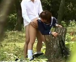 【JK青姦盗撮動画】人通りが少ない森林公園でセーラー服を着衣のまま立ちバックする女子校生を隠し撮りww