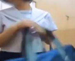 【JC着替え盗撮動画】発育した体には少し小さくなったスクール水着を買いなおすため試着する女子を隠しカメラ撮りww