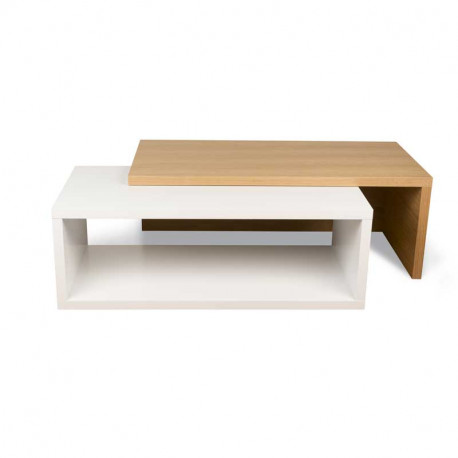 table basse extensible blanc chene