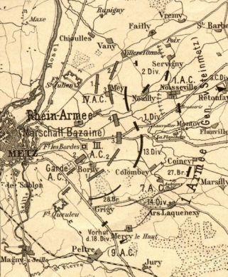 carte de la bataille de Borny