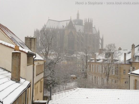 Cathédrale de Metz sous la neige