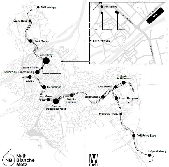 Le plan de la ligne Mettis et les différents arrêts stratégiques de la Nuit Blanche 6.