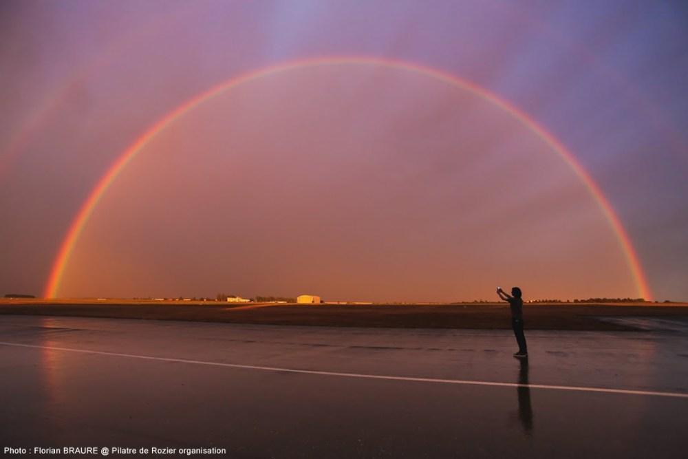 Un arc en ciel apparaît dans le ciel de Chambley, juste après l'orage de ce 24 juillet. Merci à Florian Braure pour ce cliché.