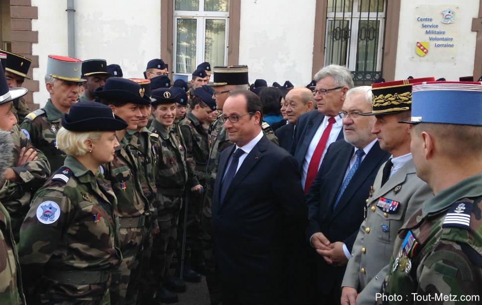 François Hollande à Montigny-les Metz, ville pilote du Service Militaire Volontaire - 29 octobre 2015