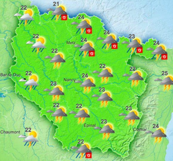 La météo du vendredi 22 juillet 2016 de 17h à 20h - Source : Météo France
