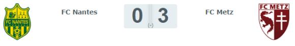 Le score sans appel de ce FC Nantes / FC Metz du 11 septembre 2016.