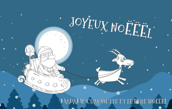 Coloriage de Madame Chaussette et du Père Noël