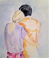 Un couple enlacé a l aquarelle