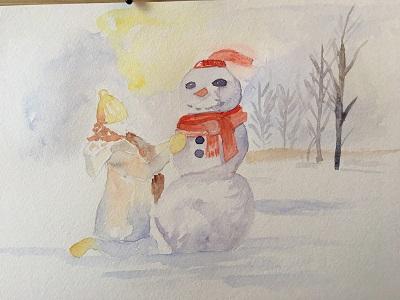 Peindre Un Bonhomme De Neige Facilement A L Aquarelle Art Express