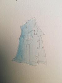 Lavis dégradé de bleu cobalt sur la totalité de la veste.