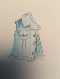 Une veste en jean à l'aquarelle