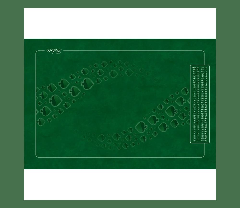 tapis de cartes belote 40 x 60 cm grille point 4 joueurs vert
