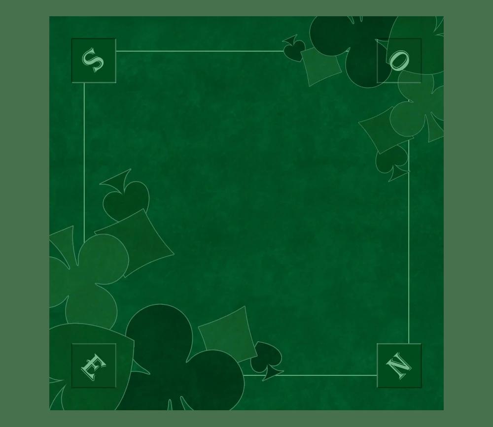 tapis jeu 60 x 60 cm vert nord sud tarot