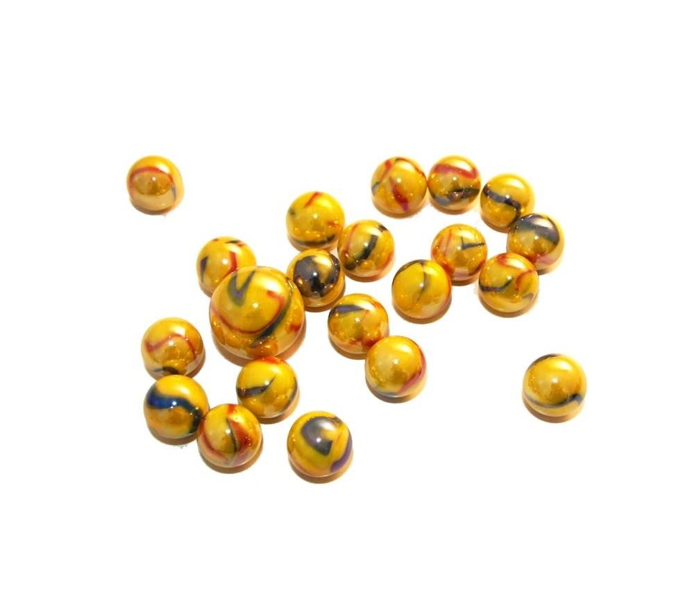 20 billes opaques jaunes canaris 1 boulet