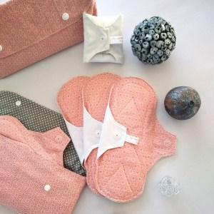 serviettes hygiéniques lavables asanoha rose