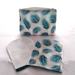 Set de Toilette - Feuilles de Palmier - Bleu Canard