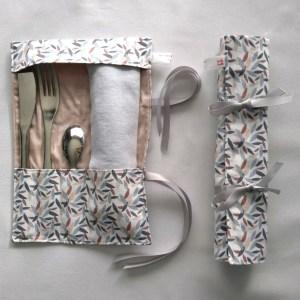 Porte-couverts feuilles de bambou - Marron gris