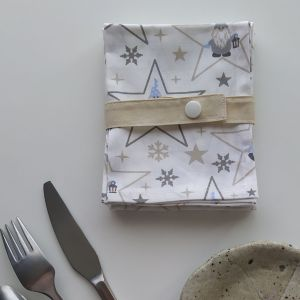 Art de la Table - Serviettes de Table - Lutins Etoiles - Blanc Beige Gris