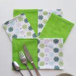 Art de la Table - Serviettes de Table - Mandalas - Gris Vert Blanc
