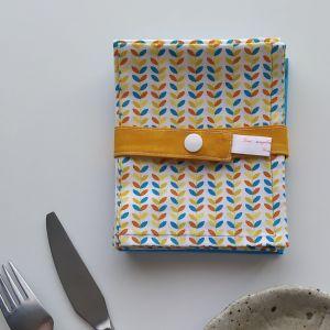 Art de la Table - Serviettes de Table - Ramages - Terracotta Jaune Bleu