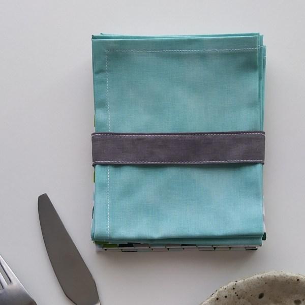 Art de la Table - Serviettes de Table - Triangles Verts - Vert d'Eau