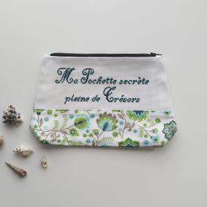 Trousse de toilette Femme - Fleurs et Ramages - Vert