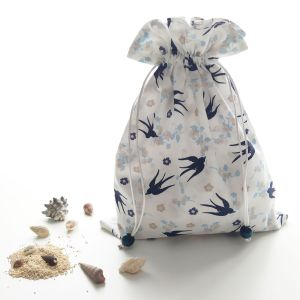 Nouveautés - Sacs en Tissu - Sac Pochon - Hirondelles et Fleurs de Cerisiers