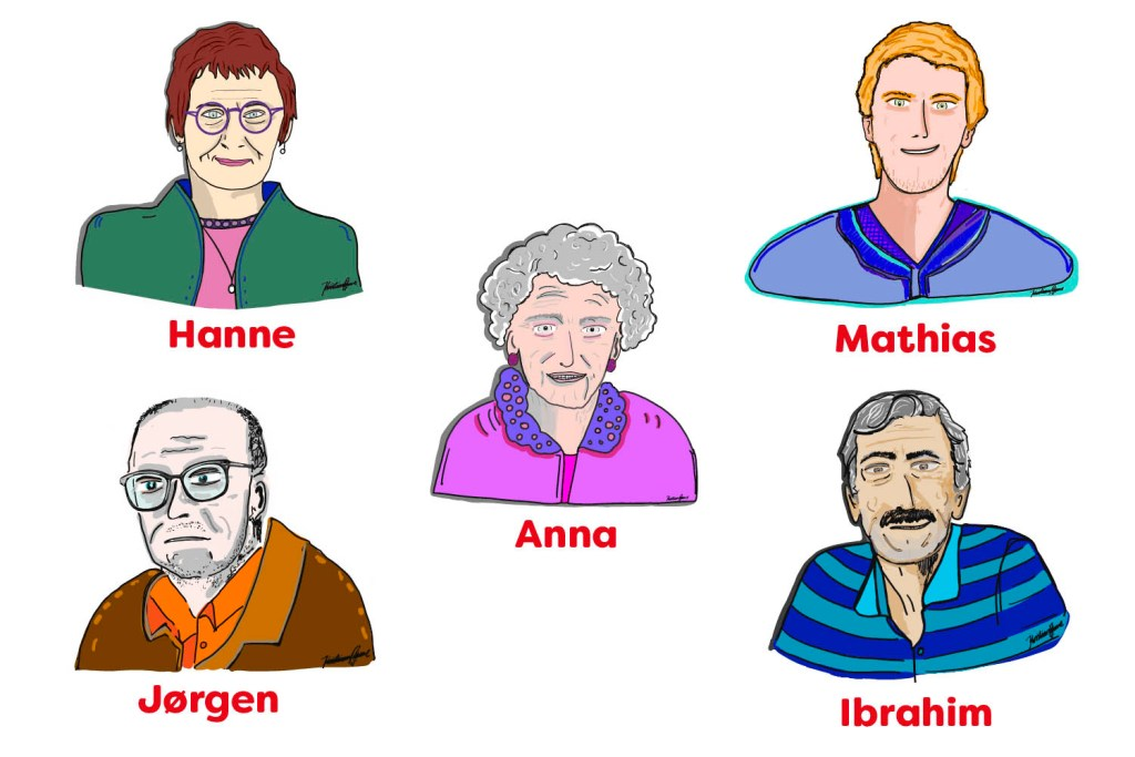 Fem personas portrætterer typiske patientgrupper på Frederiksberg og Bispebjerg Hospital.