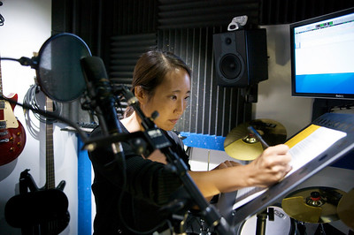 Rae recording narration for The Qiu Jin Project