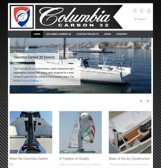 Columbia Yachts Homepage featuring dynamic image slider.