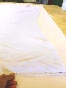 pinning the silk to the backing fabric
