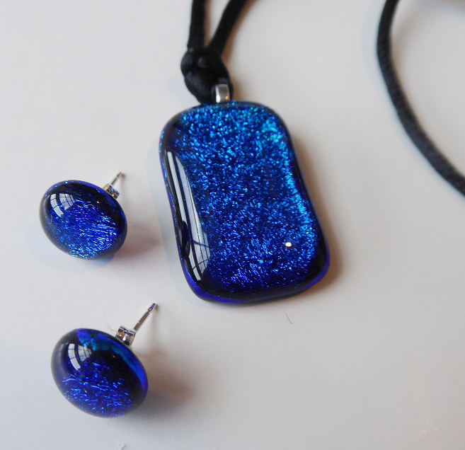 Rosie Waites fused glass cord pendant and studs