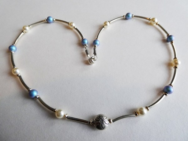 Meryl Lusher Swarovski sky blue and white bead and silver necklace