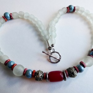 Meryl Lusher white krobo bead bangle with red central bead