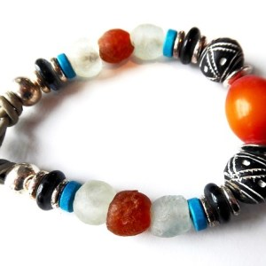 meryl lusher, amber,silver and bandw ceramic bead bangle