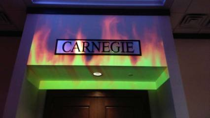 Fire-flame-video-projection-on-mitvah-entrance-to-venue