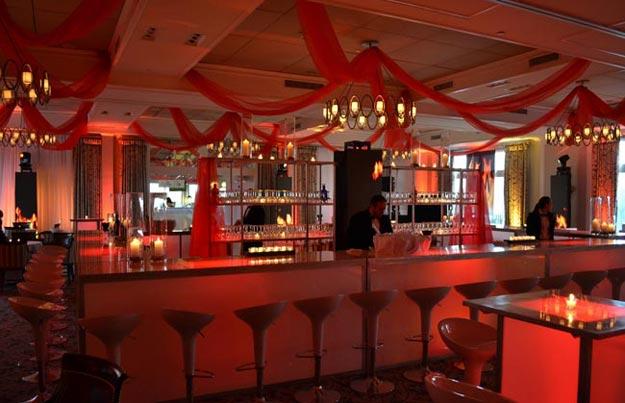 custom bar with ceiling treatment
