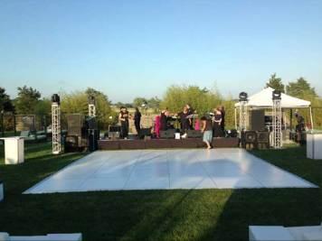 setting up dance floor