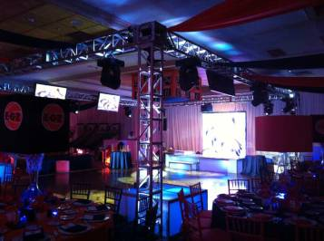 truss lighting, large video screen, event production