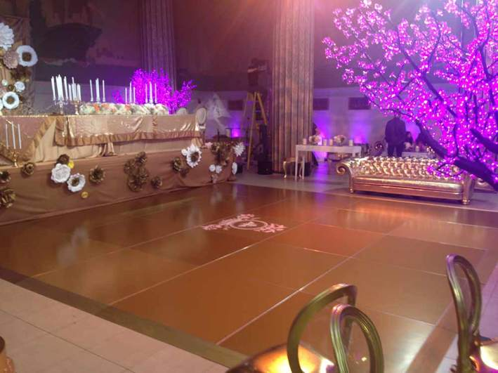 Gold-Custom-Colored-Dance-Floor-with-Purple-lights
