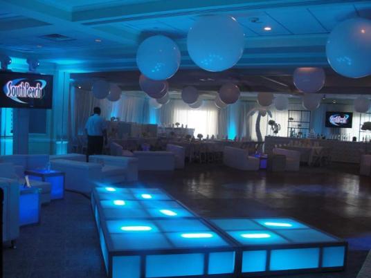 stage decks, orbs, event decor