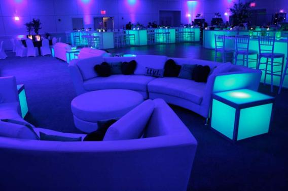 curved couches, personalized pillows, and illunumated furniture rental for bar mitzvah