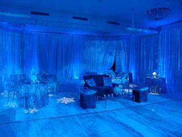 pipe and drape, intimate lounge decor rentals