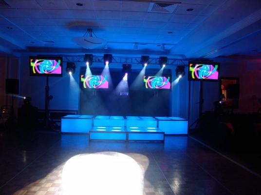 cyan blue LED stage decks, video screens, theatrical lighting