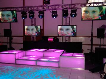 purple and blue LED stage decks, video screens, theatrical lighting