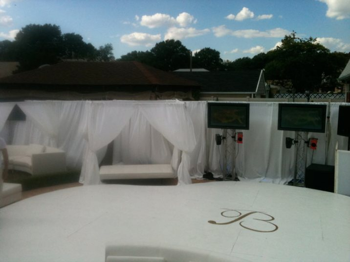 outside event production pipe and drape, lounge decor, pool cover