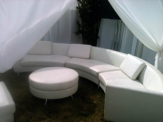 curved couch event decor